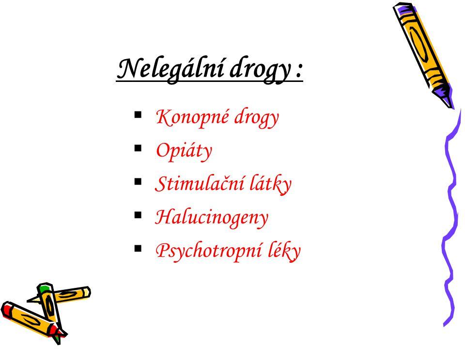 Nelegální drogy : Konopné drogy Opiáty Stimulační látky Halucinogeny