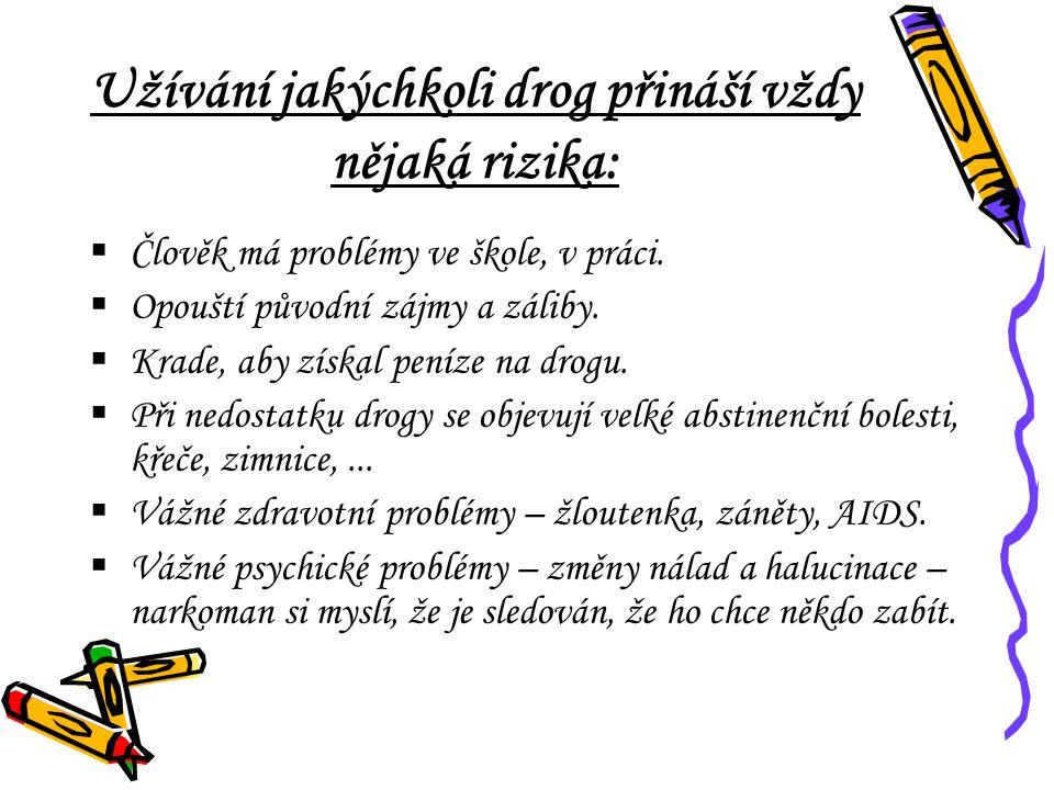 Užívání jakýchkoli drog přináší vždy nějaká rizika: