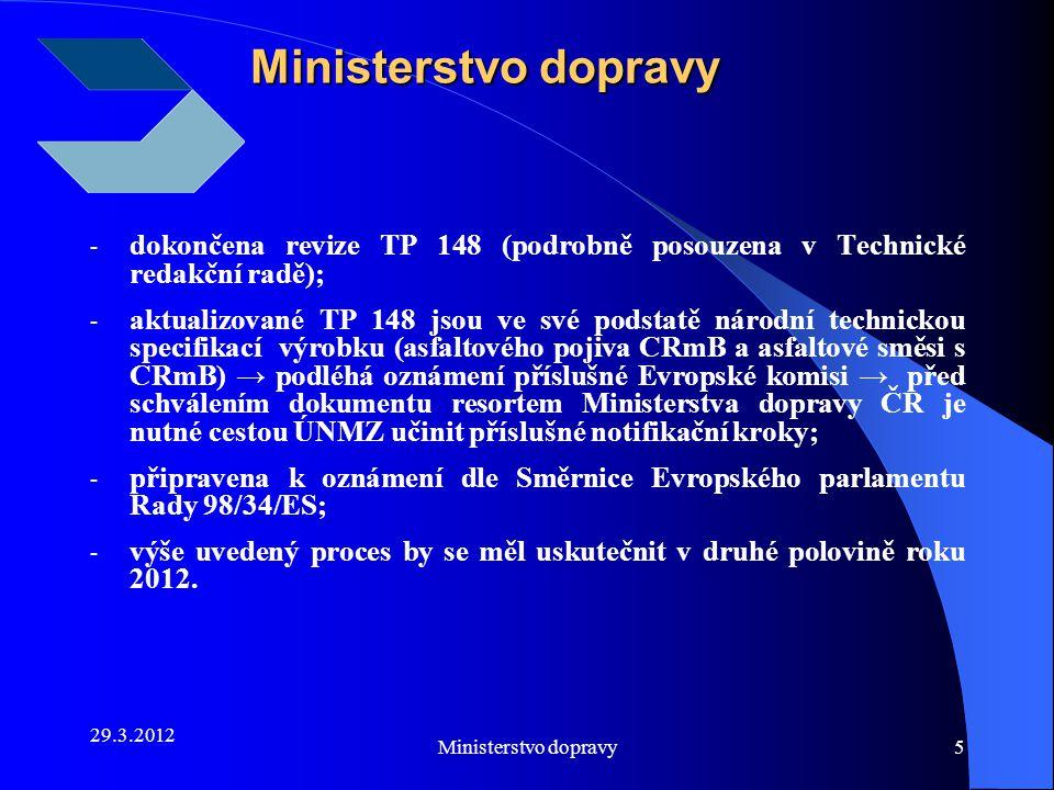 Ministerstvo dopravy dokončena revize TP 148 (podrobně posouzena v Technické redakční radě);