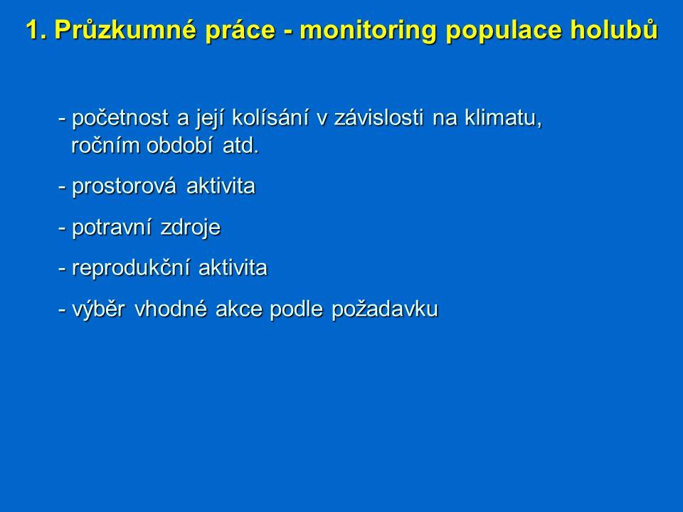 1. Průzkumné práce - monitoring populace holubů