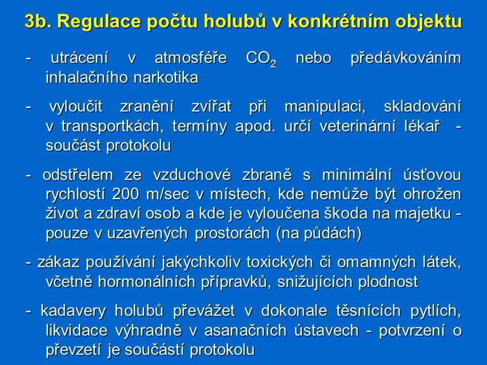 3b. Regulace počtu holubů v konkrétním objektu