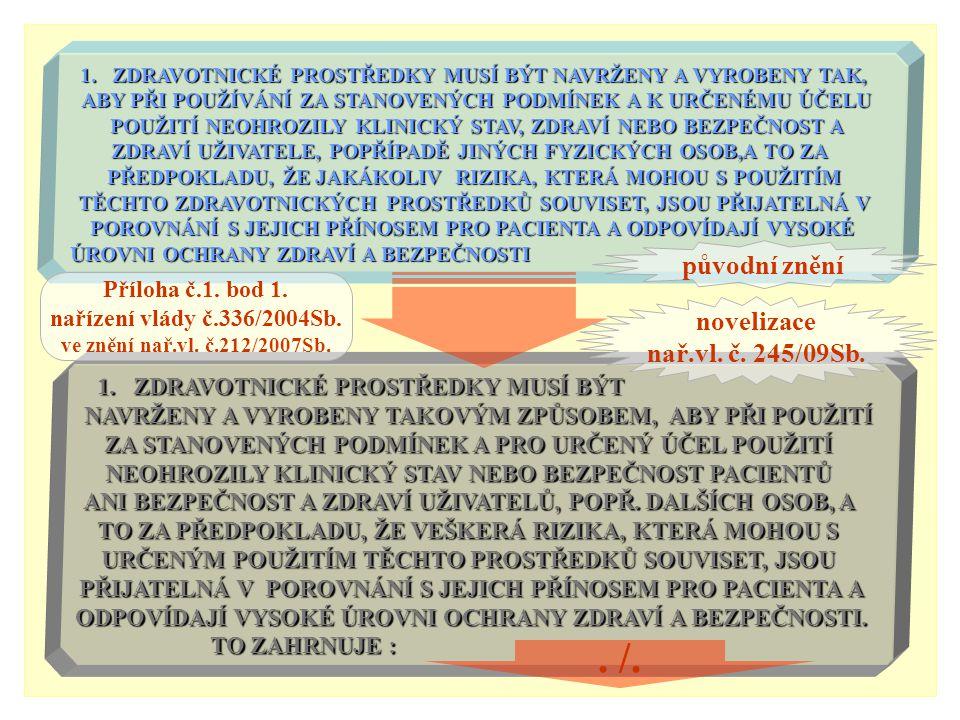 . /. původní znění novelizace nař.vl. č. 245/09Sb. Příloha č.1. bod 1.