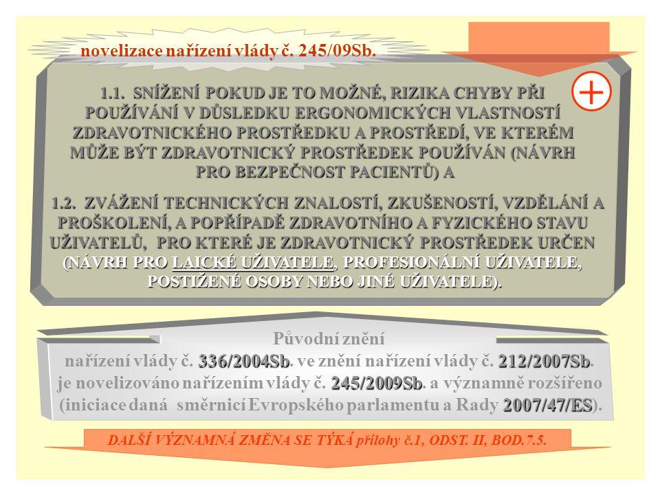 + novelizace nařízení vlády č. 245/09Sb. Původní znění