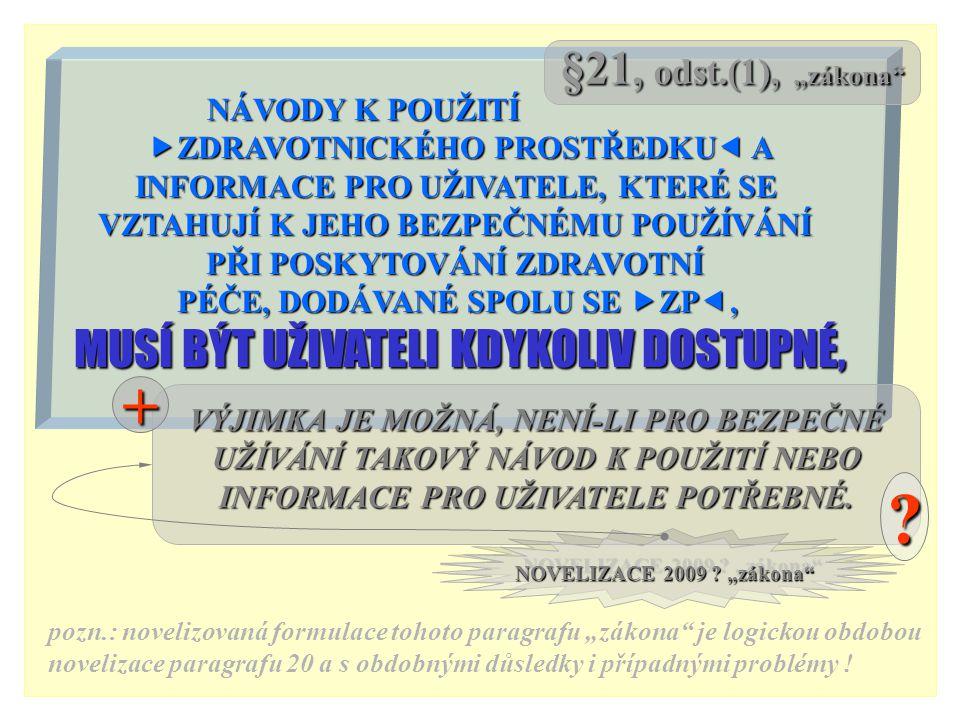 """+ §21, odst.(1), """"zákona MUSÍ BÝT UŽIVATELI KDYKOLIV DOSTUPNÉ,"""