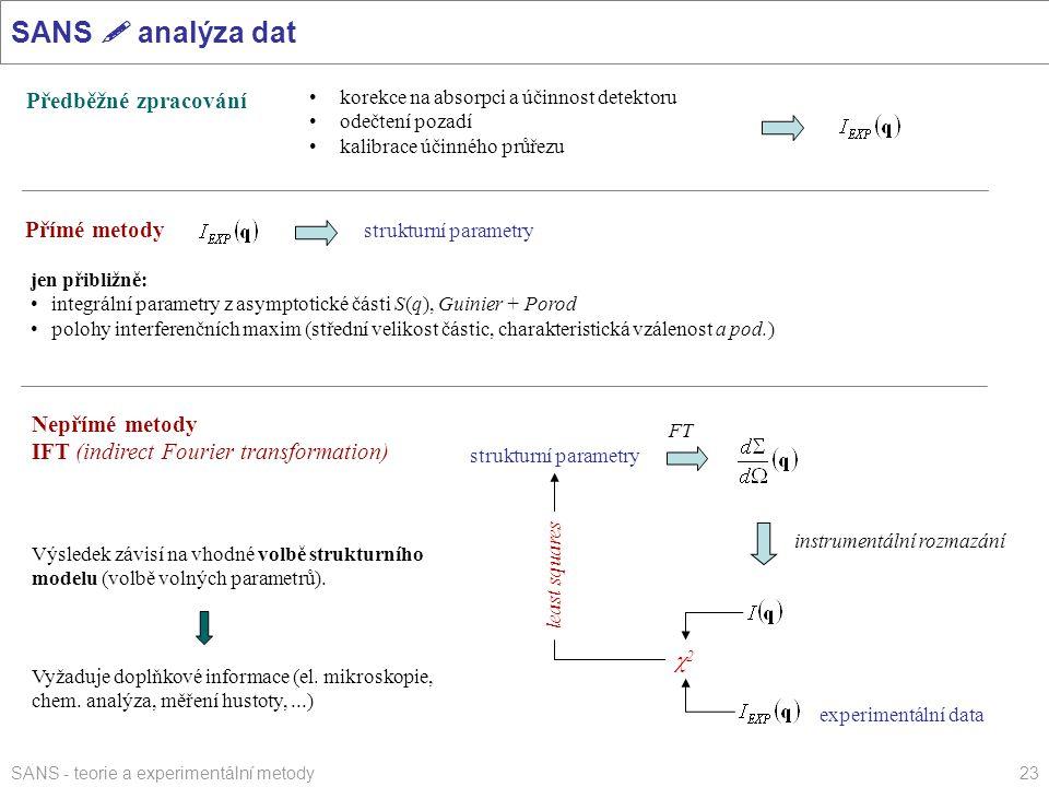 SANS  analýza dat Předběžné zpracování Přímé metody Nepřímé metody