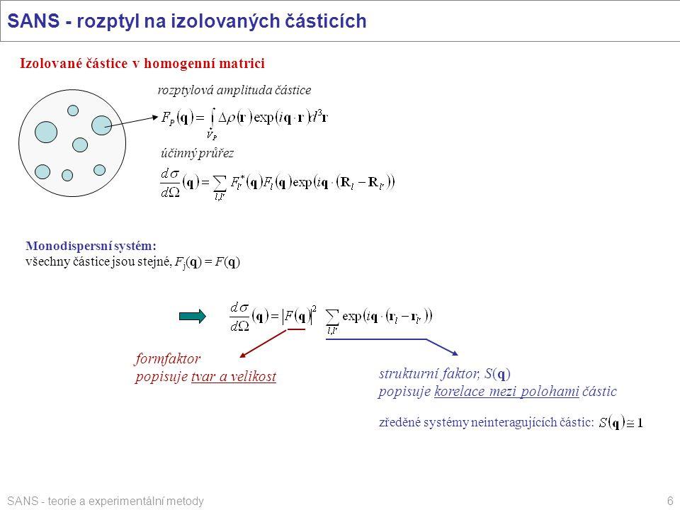 SANS - rozptyl na izolovaných částicích