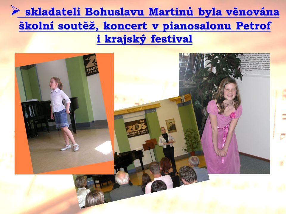 skladateli Bohuslavu Martinů byla věnována školní soutěž, koncert v pianosalonu Petrof