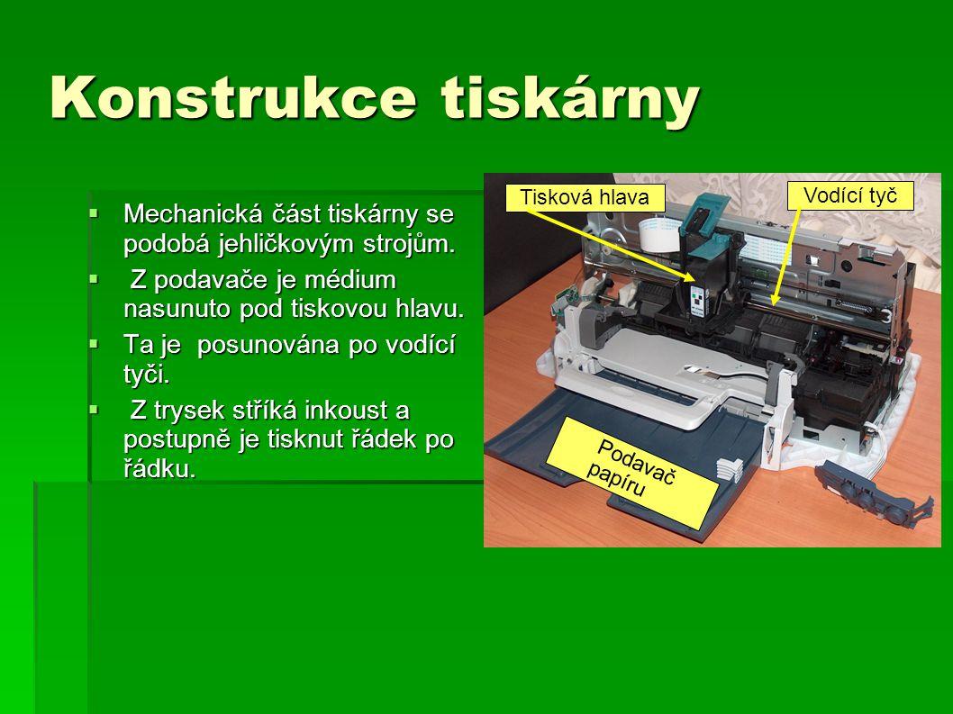 Konstrukce tiskárny Tisková hlava. Vodící tyč. Mechanická část tiskárny se podobá jehličkovým strojům.