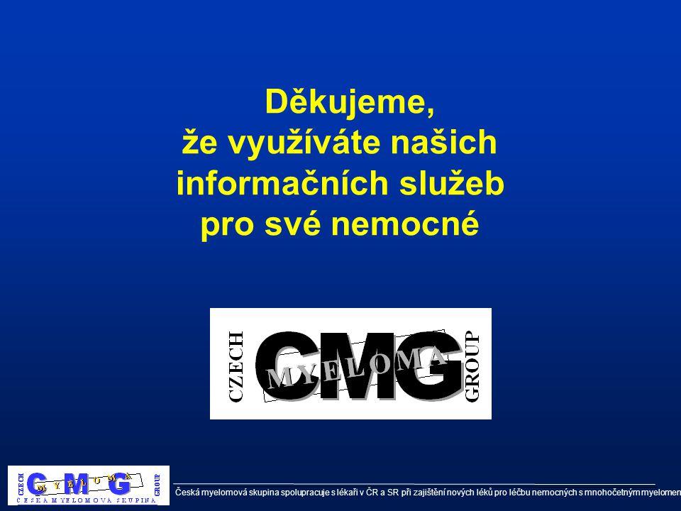 Děkujeme, že využíváte našich informačních služeb pro své nemocné