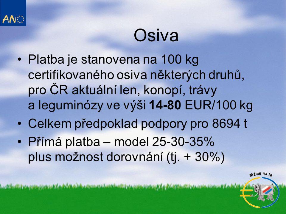 Osiva Platba je stanovena na 100 kg certifikovaného osiva některých druhů, pro ČR aktuální len, konopí, trávy a leguminózy ve výši 14-80 EUR/100 kg.