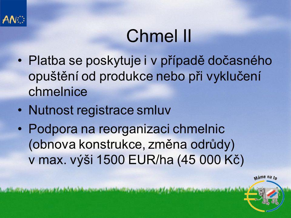 Chmel II Platba se poskytuje i v případě dočasného opuštění od produkce nebo při vyklučení chmelnice.