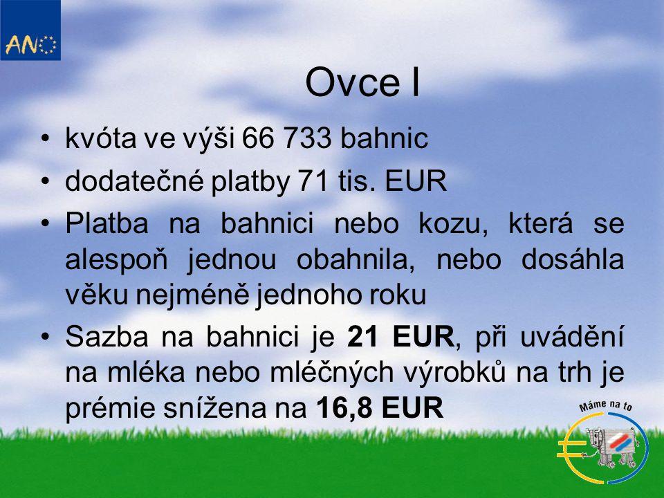 Ovce I kvóta ve výši 66 733 bahnic dodatečné platby 71 tis. EUR