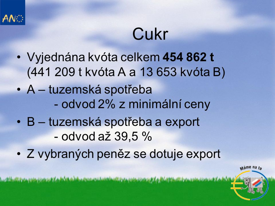 Cukr Vyjednána kvóta celkem 454 862 t (441 209 t kvóta A a 13 653 kvóta B) A – tuzemská spotřeba - odvod 2% z minimální ceny.