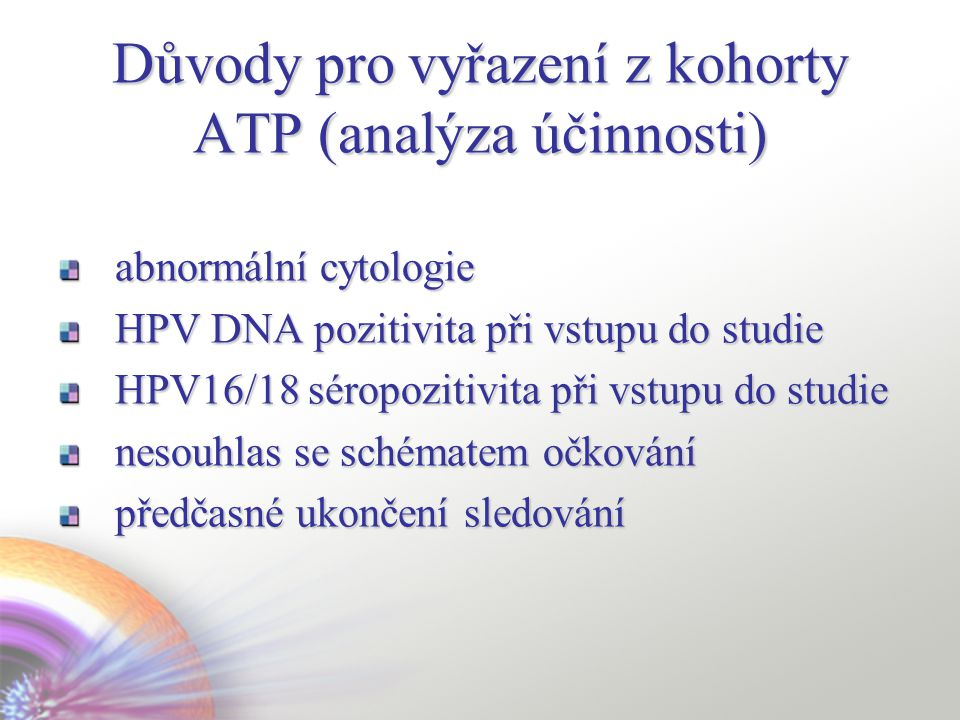 Důvody pro vyřazení z kohorty ATP (analýza účinnosti)