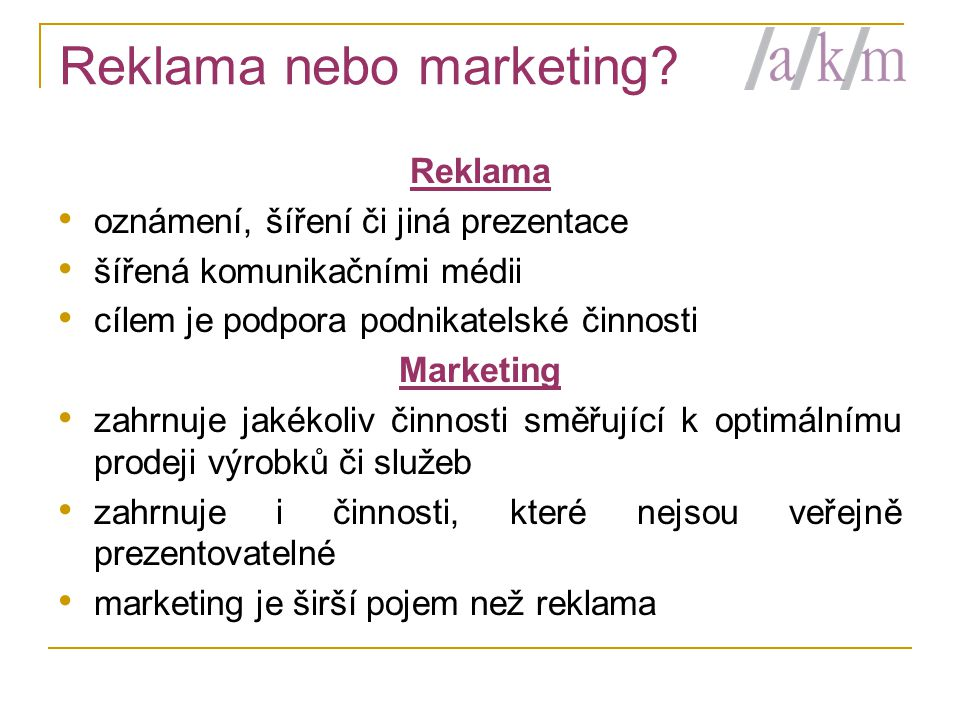 Reklama nebo marketing