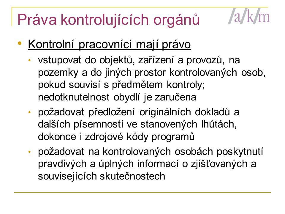 Práva kontrolujících orgánů