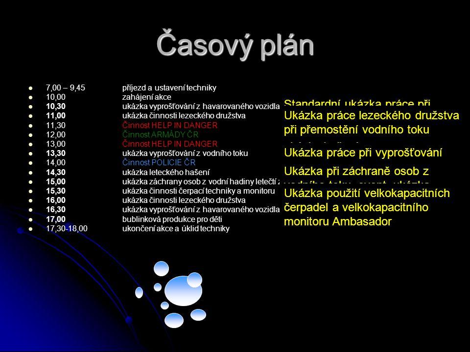Časový plán 7,00 – 9,45 příjezd a ustavení techniky. 10,00 zahájení akce. 10,30 ukázka vyprošťování z havarovaného vozidla pod hradbami.