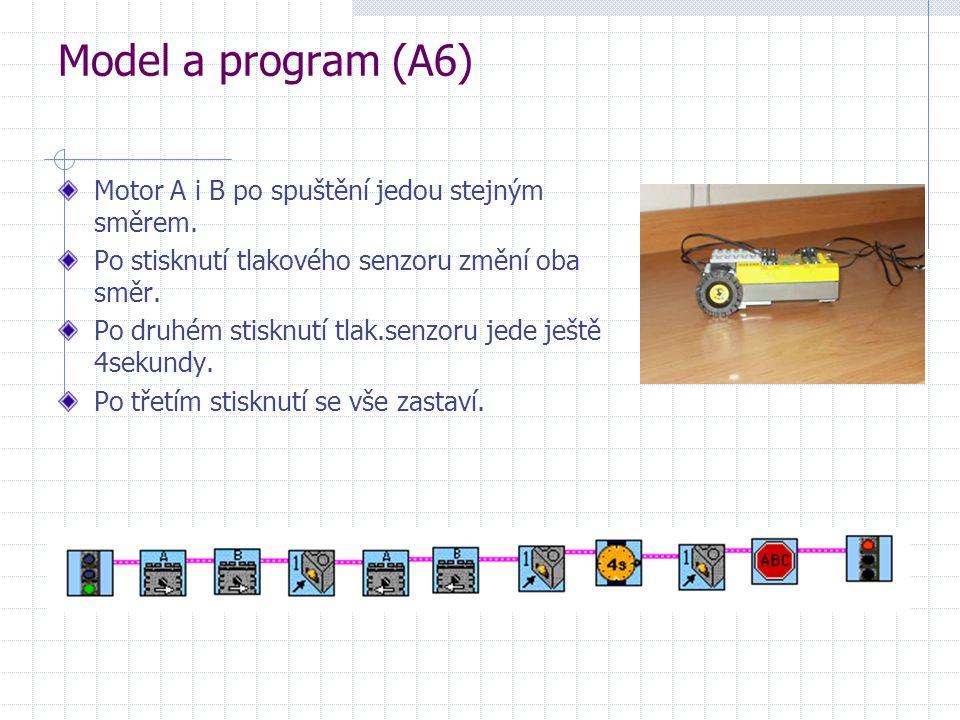 Model a program (A6) Motor A i B po spuštění jedou stejným směrem.