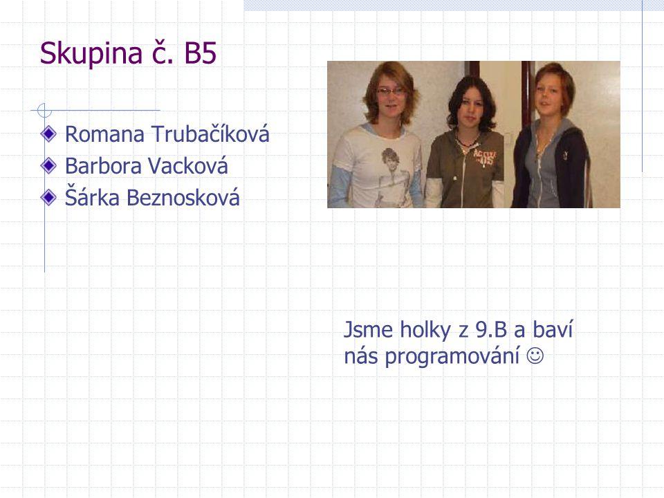 Skupina č. B5 Romana Trubačíková Barbora Vacková Šárka Beznosková