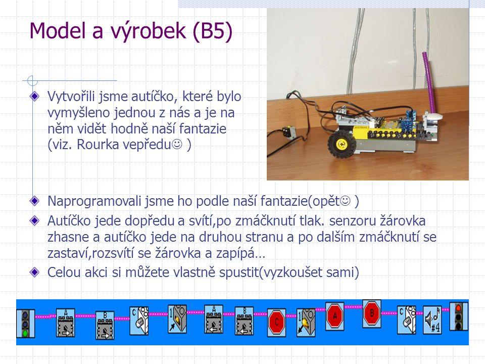 Model a výrobek (B5) Vytvořili jsme autíčko, které bylo vymyšleno jednou z nás a je na něm vidět hodně naší fantazie (viz. Rourka vepředu )