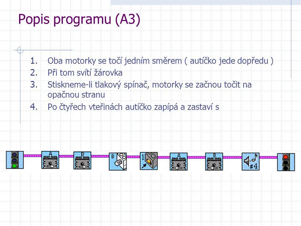 Popis programu (A3) Oba motorky se točí jedním směrem ( autíčko jede dopředu ) Při tom svítí žárovka.