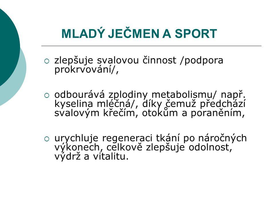 MLADÝ JEČMEN A SPORT zlepšuje svalovou činnost /podpora prokrvování/,
