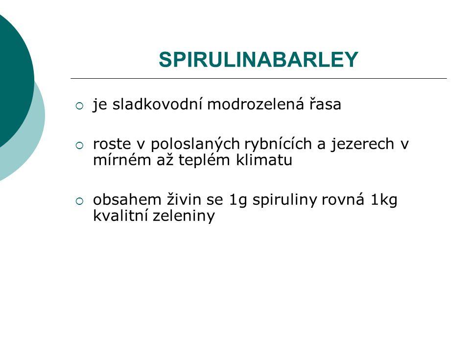 SPIRULINABARLEY je sladkovodní modrozelená řasa