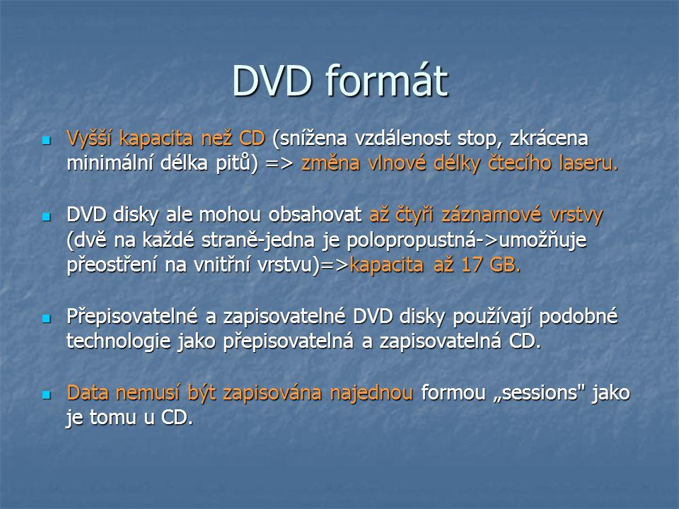 DVD formát Vyšší kapacita než CD (snížena vzdálenost stop, zkrácena minimální délka pitů) => změna vlnové délky čtecího laseru.
