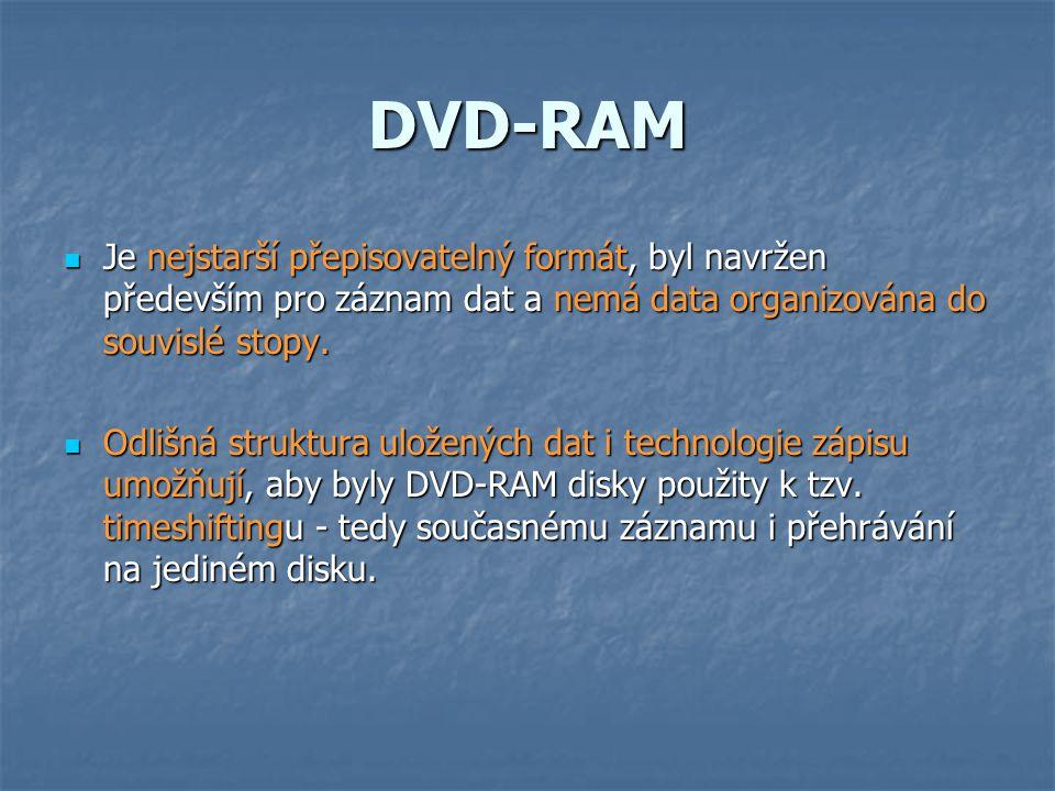 DVD-RAM Je nejstarší přepisovatelný formát, byl navržen především pro záznam dat a nemá data organizována do souvislé stopy.