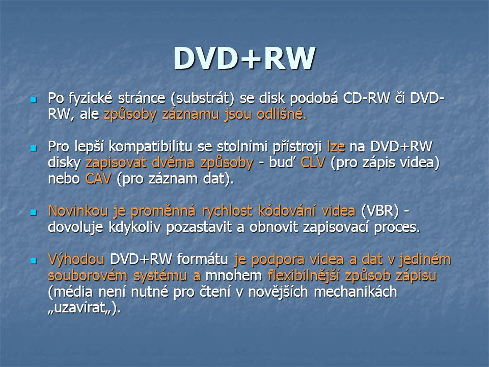 DVD+RW Po fyzické stránce (substrát) se disk podobá CD-RW či DVD-RW, ale způsoby záznamu jsou odlišné.