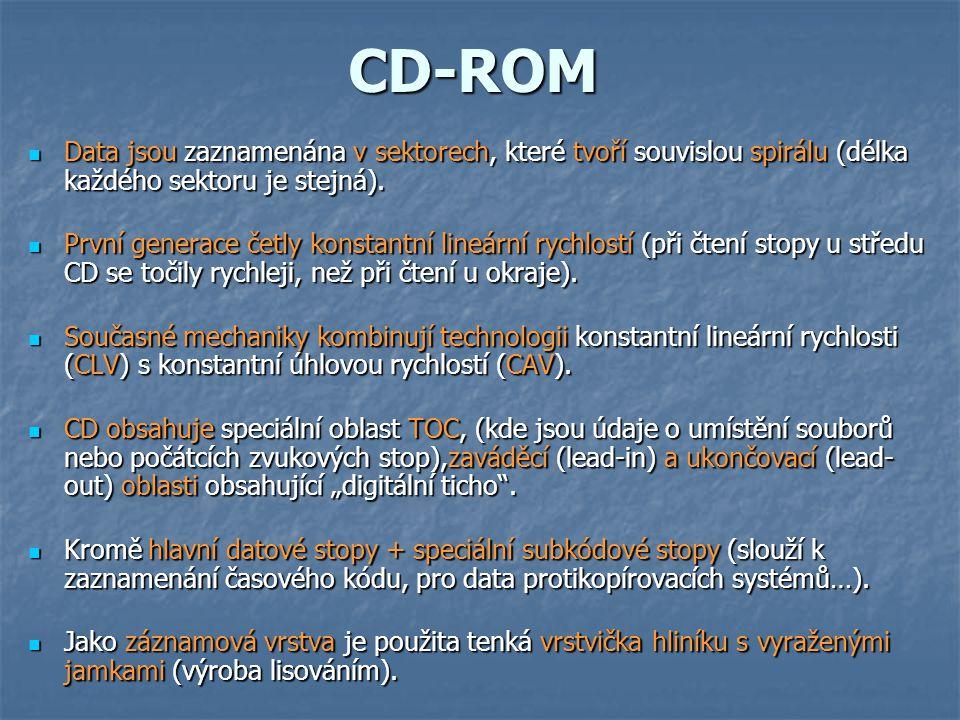 CD-ROM Data jsou zaznamenána v sektorech, které tvoří souvislou spirálu (délka každého sektoru je stejná).