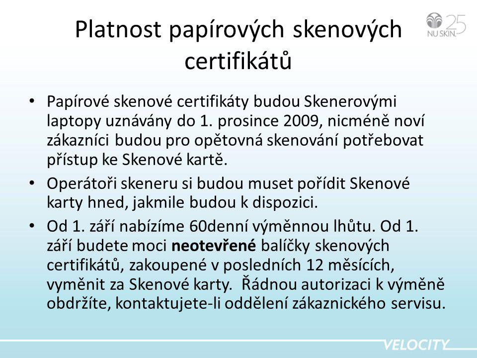 Platnost papírových skenových certifikátů