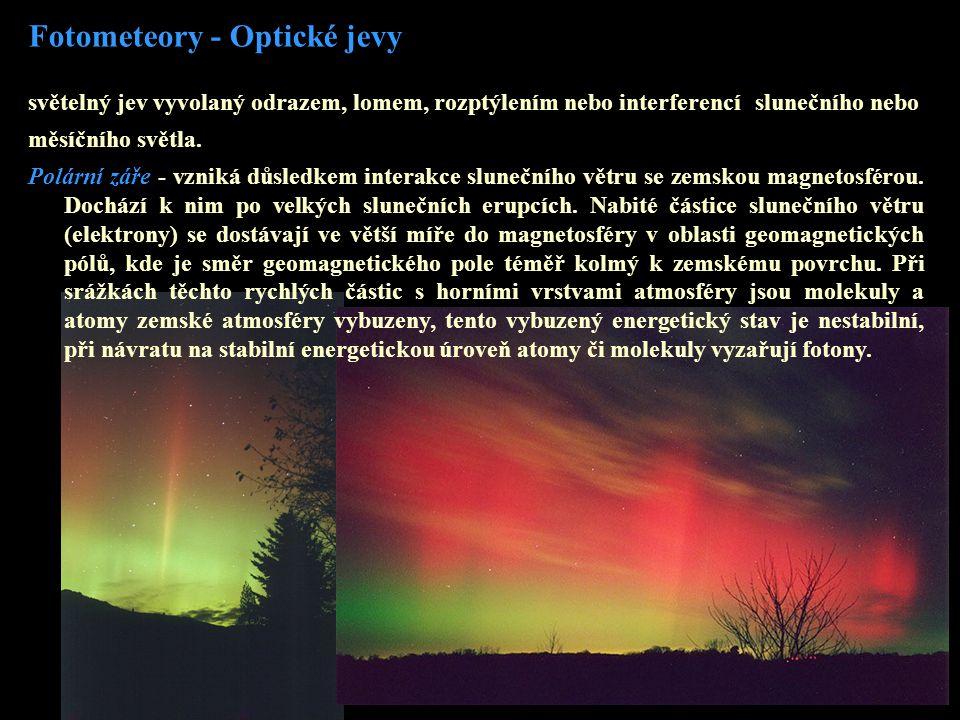 Fotometeory - Optické jevy světelný jev vyvolaný odrazem, lomem, rozptýlením nebo interferencí slunečního nebo měsíčního světla.