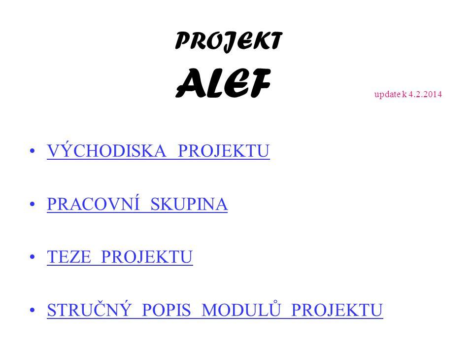 PROJEKT ALEF update k 4.2.2014 VÝCHODISKA PROJEKTU PRACOVNÍ SKUPINA