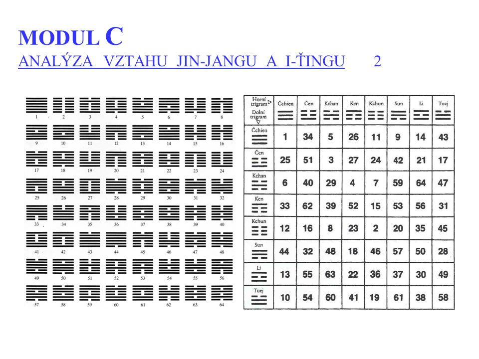 MODUL C ANALÝZA VZTAHU JIN-JANGU A I-ŤINGU 2