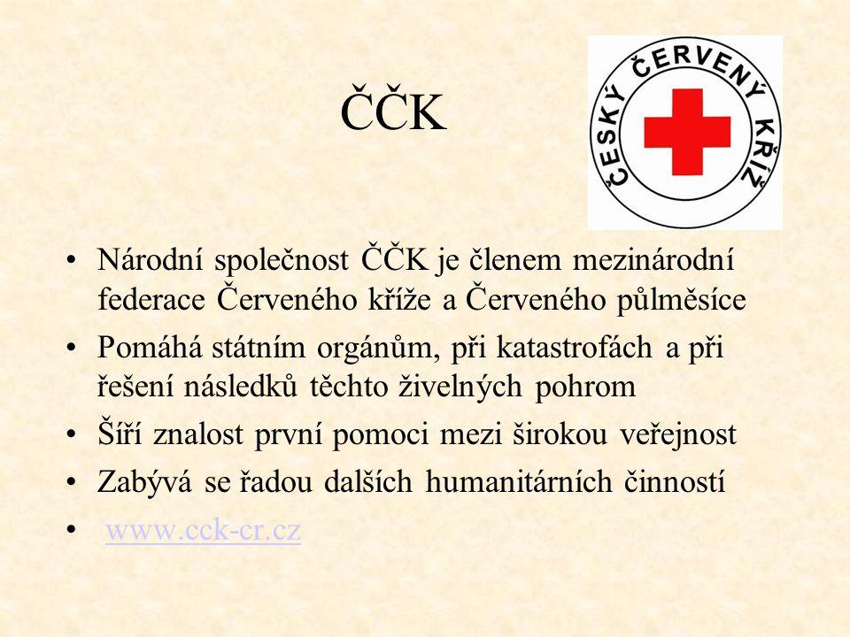 ČČK Národní společnost ČČK je členem mezinárodní federace Červeného kříže a Červeného půlměsíce.