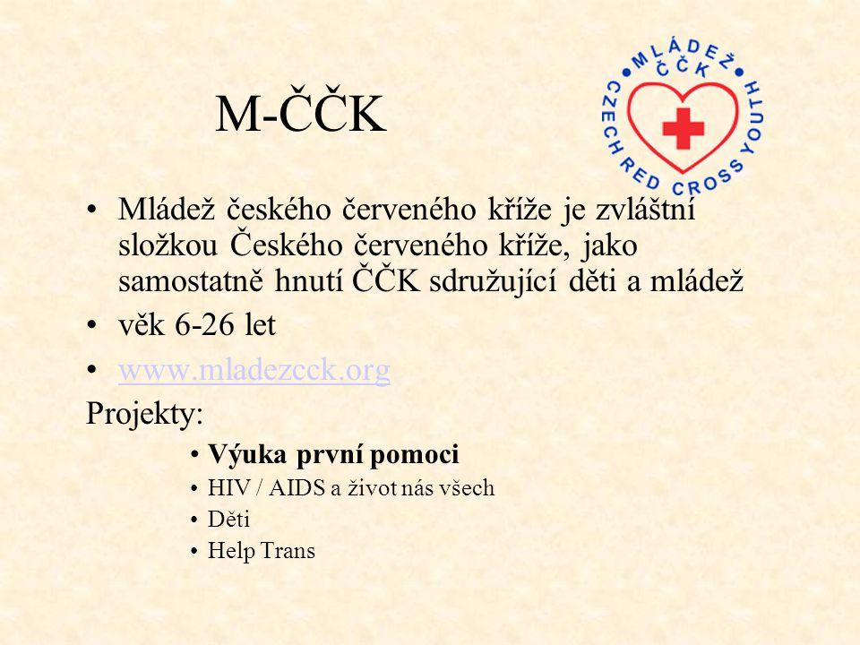 M-ČČK Mládež českého červeného kříže je zvláštní složkou Českého červeného kříže, jako samostatně hnutí ČČK sdružující děti a mládež.