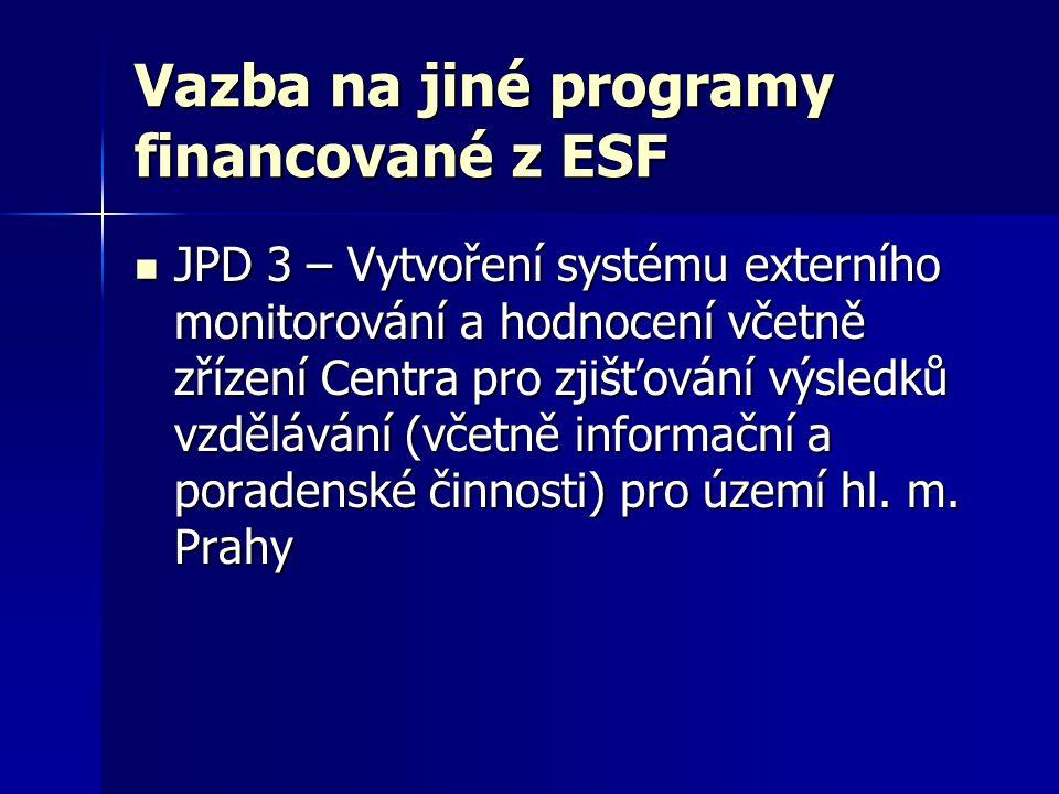 Vazba na jiné programy financované z ESF