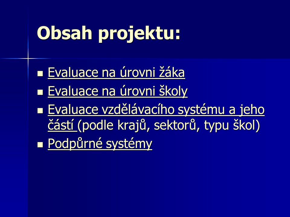 Obsah projektu: Evaluace na úrovni žáka Evaluace na úrovni školy