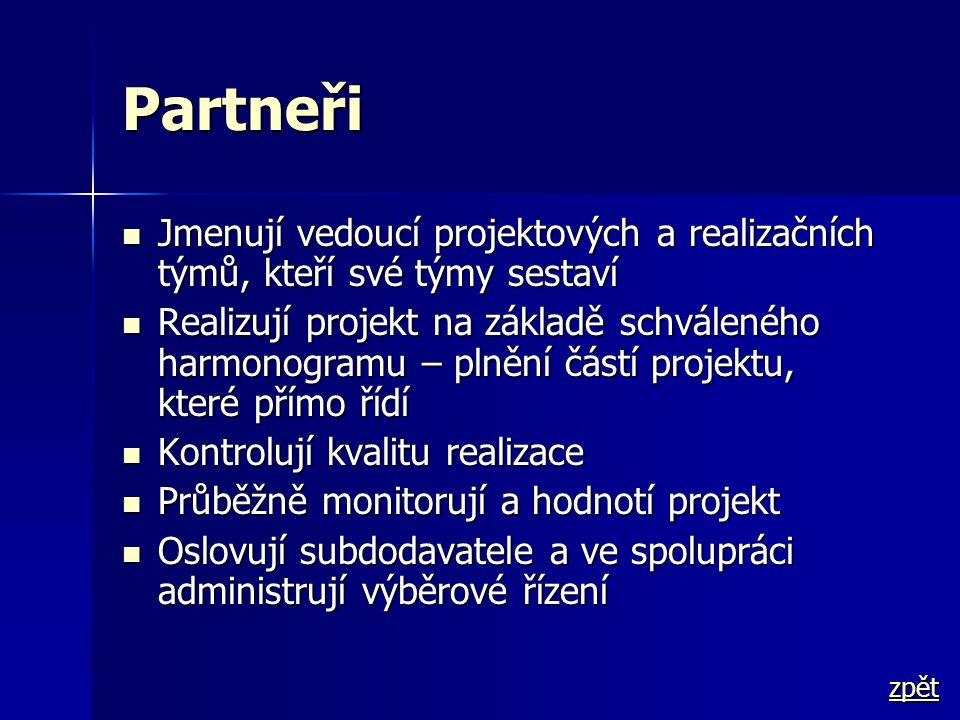 Partneři Jmenují vedoucí projektových a realizačních týmů, kteří své týmy sestaví.