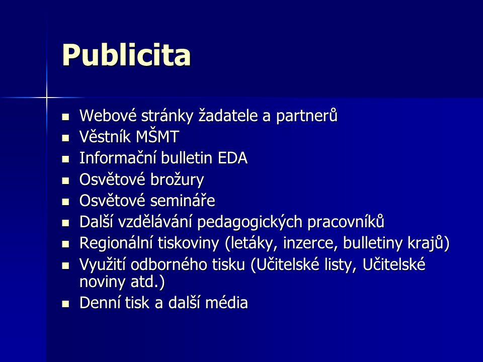 Publicita Webové stránky žadatele a partnerů Věstník MŠMT