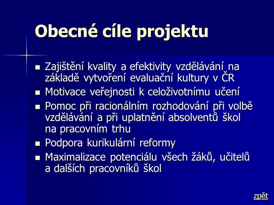Obecné cíle projektu Zajištění kvality a efektivity vzdělávání na základě vytvoření evaluační kultury v ČR.