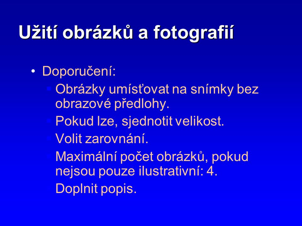 Užití obrázků a fotografií