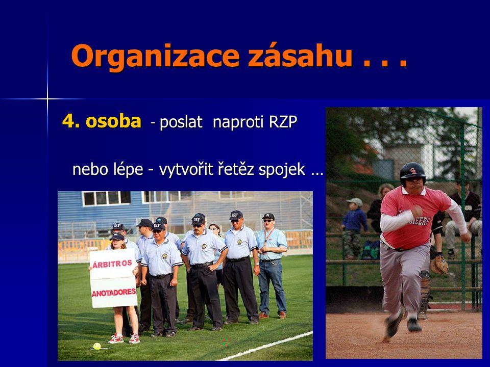 Organizace zásahu . . . 4. osoba - poslat naproti RZP