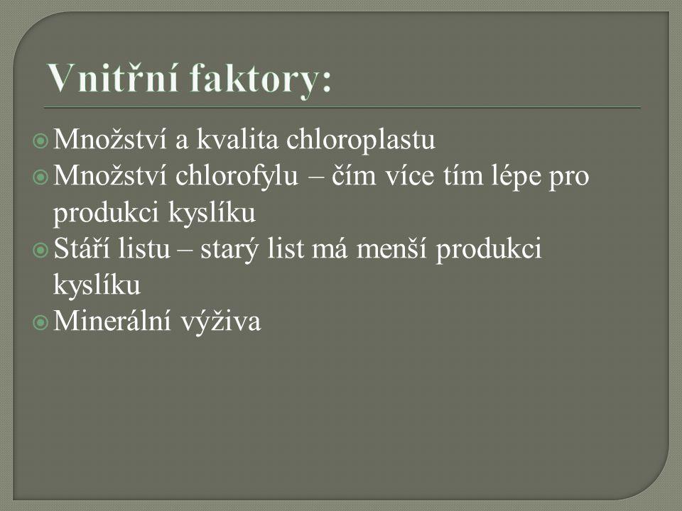 Vnitřní faktory: Množství a kvalita chloroplastu