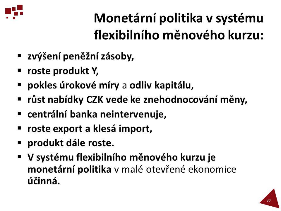Monetární politika v systému flexibilního měnového kurzu: