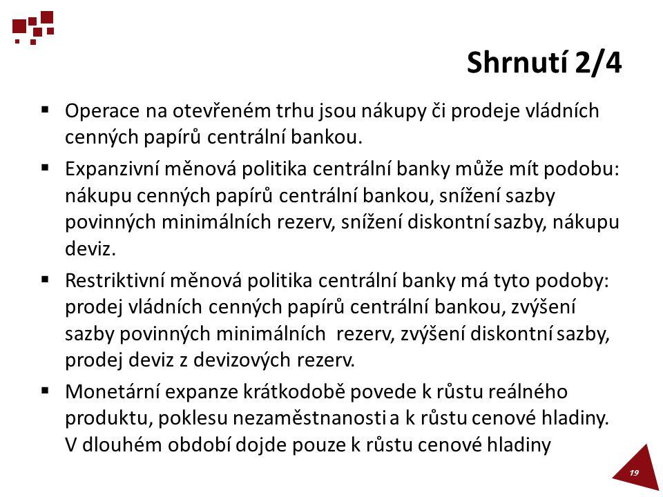 Shrnutí 2/4 Operace na otevřeném trhu jsou nákupy či prodeje vládních cenných papírů centrální bankou.