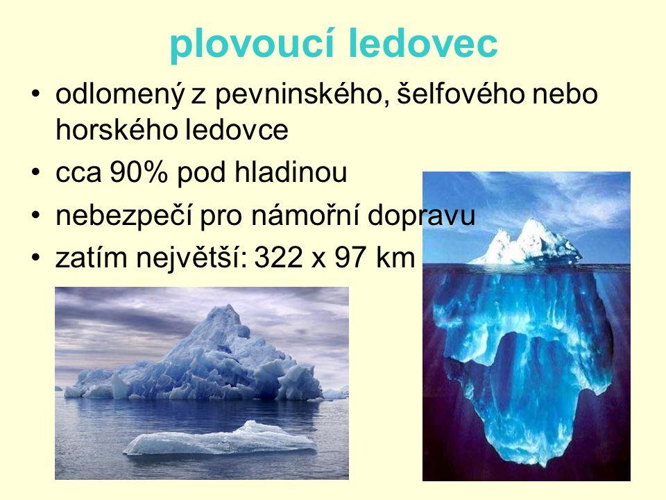 plovoucí ledovec odlomený z pevninského, šelfového nebo horského ledovce. cca 90% pod hladinou. nebezpečí pro námořní dopravu.