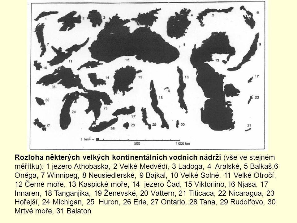 Rozloha některých velkých kontinentálních vodních nádrží (vše ve stejném měřítku): 1 jezero Athobaska, 2 Velké Medvědí, 3 Ladoga, 4 Aralské, 5 Balkaš,6 Oněga, 7 Winnipeg, 8 Neusiedlerské, 9 Bajkal, 10 Velké Solné.