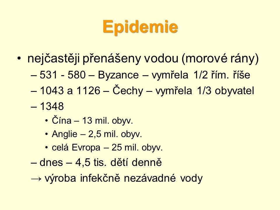 Epidemie nejčastěji přenášeny vodou (morové rány)